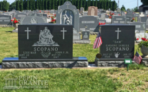 Upright headstone, base and urn from Pepin Granite in Barre, VT
